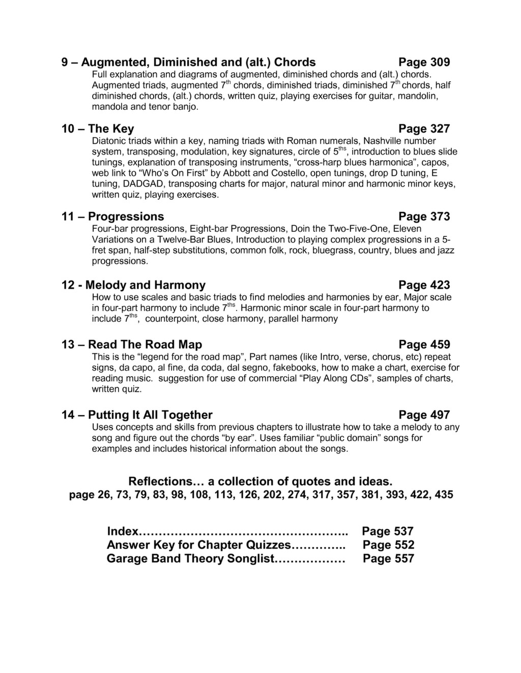 Table of Contents and Index « Garage Band Theory